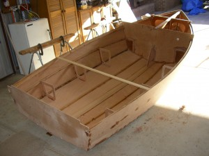 Stitch and glue Heron hull under construction
